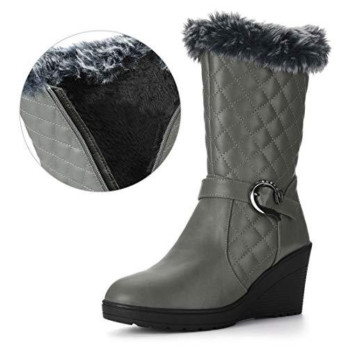 Allegra K Damen Schnallen Riemen plüsch wattieren Keilabsatz Mitte-Unterschenkel Stiefel Grau 40 EU/Label Size 9 US