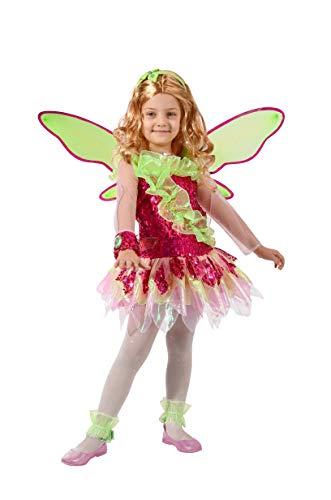 Ciao Flora Tynix Kostüm für Mädchen, 7-9 Jahre, Grün, Rosa, - Winx Club Kostüm