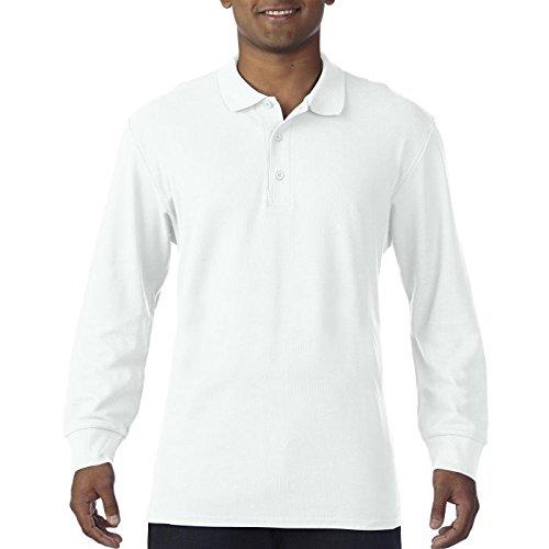 Polo Maniche Lunghe Uomo Cotone Piquet Gildan Premium Cotton Maglia Con Colletto CHEMAGLIETTE! , Colore: Bianco, Taglia: M