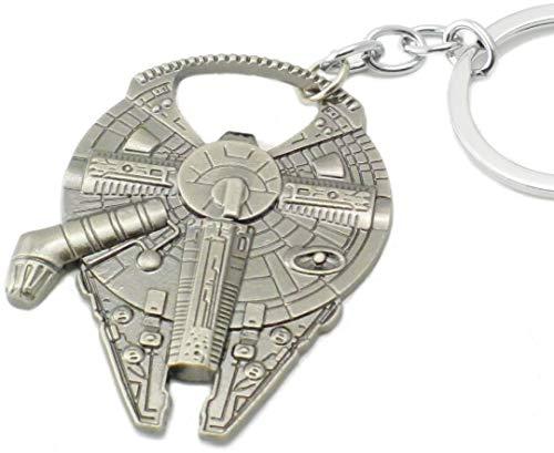 WOO LANDO Han Solo`s Millenium Falke - Flaschenöffner in Raumschiff Optik mit Schlüsselanhänger, Edelstahloptik 60x45mm, lustiges Geschenk für Star Wars Fans