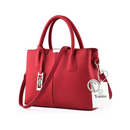 Yoome Lichee Top Handle Crossbody Borse Borse Elegante per Donne Portafogli Portafogli Donna - Navy Rosso