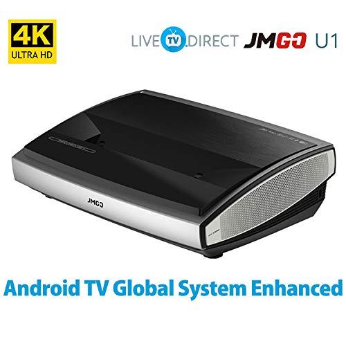 4K Projector, LiveTV.Direct Enhanced JmGO U1 Laser Ultra Short Focus Native 4K UHD Android 3D Smart Laser TV Home Theater Projector Built-in Hi-Fi Bluetooth Speaker