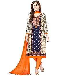 ba9b558590 S Salwar Studio Women's Blue & Orange Cotton Embroidered Salwar Suit  Material with Dupatta(SOM