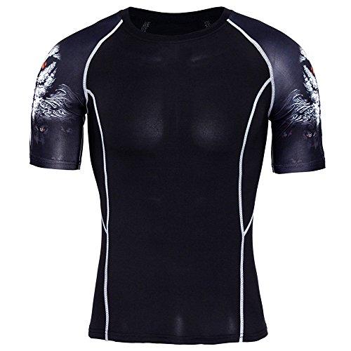 BURFLY Print T-Shirt Herren, Herren Wolfskopf Druck Kurzarm-Laufshirt Funktionsbekleidung mit Rundhalsausschnitt schnelltrocknendem Fitness T-Shirt (3XL, Schwarz)