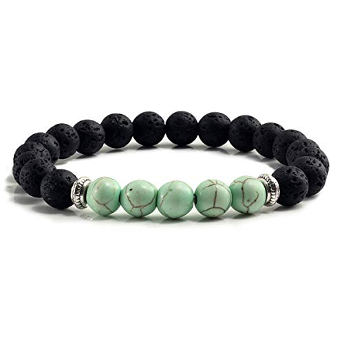 Armreif mit Kette, Natural Volcanic Stone Bracelets Charm Women Chakra Balance Beads Men Black Lava Turquoises Strand Bangle Fashion Jewelry Apple Green