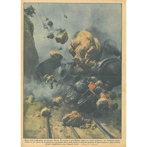 Blocco di roccia cade sopra un treno, nei Grigioni in Svizzera, facendolo (Blocchi Treno)