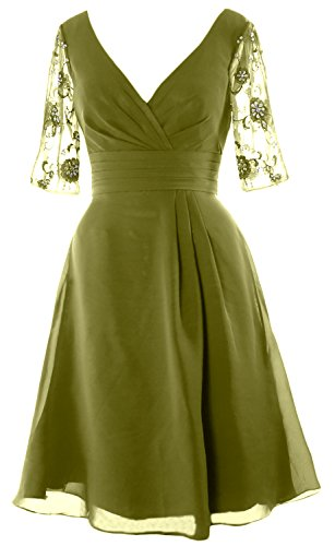 MACloth Women Half Sleeves V Neck Cocktail Dress Short Mother of the Bride Dress Olive Green