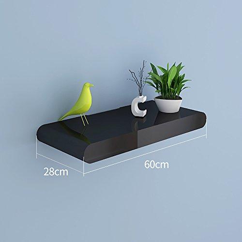 Regal Wand-Blumen-Regal-Wand-Regal-Ecken-Regal-Wand-Aufsatz-schwimmender Regal-Fernsehhintergrund-Wand-dekorativer Rahmen (DIY Montage u. Load30KG) ( Farbe : Pure black , größe : 60 )