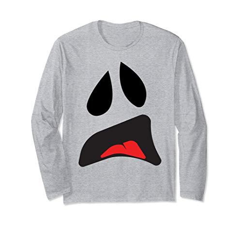 Einfache Für Paare Kostüm - Big Ghost Face - Einfache Paare Halloween-Kostüm Idee Langarmshirt