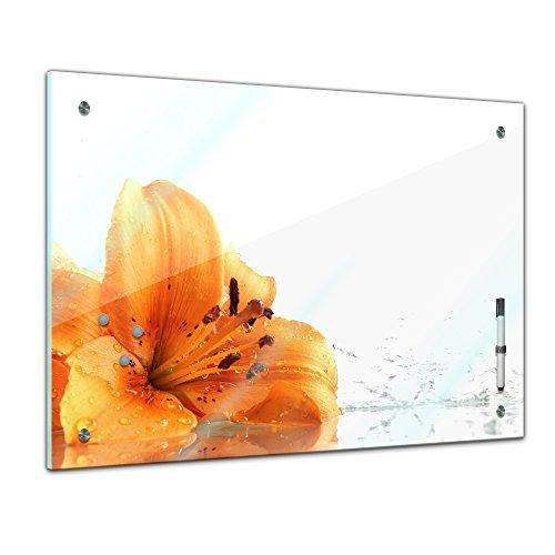 Memoboard 80 x 60 cm, Pflanzen - Lilie - Memotafel Pinnwand - Blatt - Gras - bunt - Garten - Blume - Blüte - Pflanzenmotiv - Zierpflanze - Natur - Blumenbild - orange - Glasbild - Handmade -