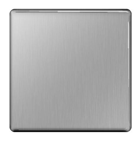 BG Flatplate Screwless 1 Gang Blank-Plate Brushed Steel