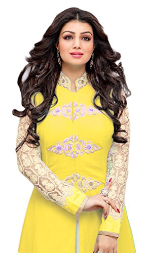 Sitaram womans georgette Yellow colour Lehenga and Anarkali gown style semistitched Dress...
