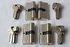 Lot de 4 serrure à cylindre avec 20 clés Empreinte identique 30/30 (60MM)