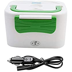 QJONKE Boîte Chauffante Lunch Box, Lunchbox Gamelle Électrique pour Voitures 12V 45W Adaptateur De Voiture Allume Cigare Idéale pour Trucker, Auto,Green