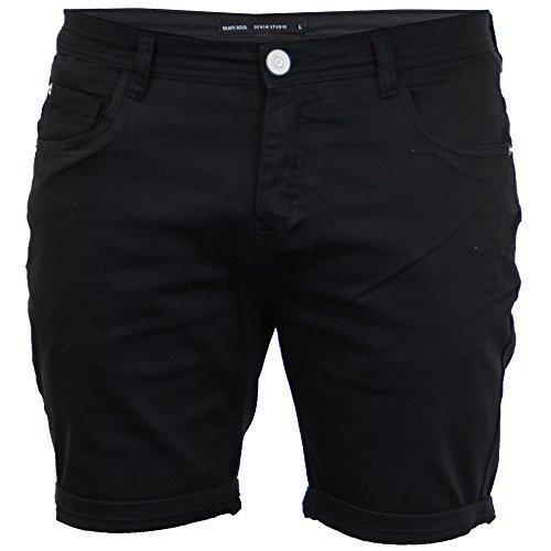 Brave Soul Herren zerschlissene Jeans Skinny Shorts Biker gerüscht Hose Baumwolle Sommer NEU - schwarz - Osten, - Zerschlissene Jeans