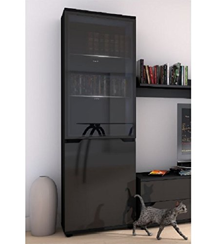 Tall display glass shelving storage cabinet in black high for Bad sideboard