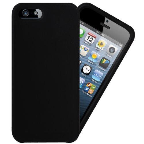 igloo-flexible-slim-silicone-rubber-case-screen-protector-for-the-apple-iphone-5-5s-se-handset-black