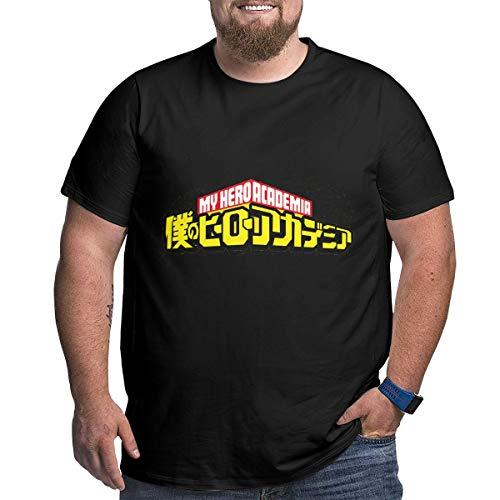 Eivan My Hero Academia Herren T-Shirt Large Size Rundhalsausschnitt Baumwolle Kurzarm Shirt Gr. XXL, Schwarz