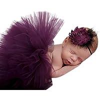 Happy Cherry - Disftraz Trajes de Fotografía Cinta de Cabeza de Flor y Falda Tutú de Fiesta Cumpleaños para Recién Nacidos Bebés Niñas