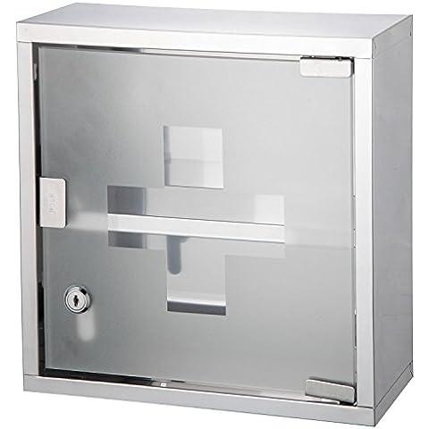 Bond Hardware pared armario botiquín Acero Inoxidable Caja con 2estantes y puerta de cristal esmerilado
