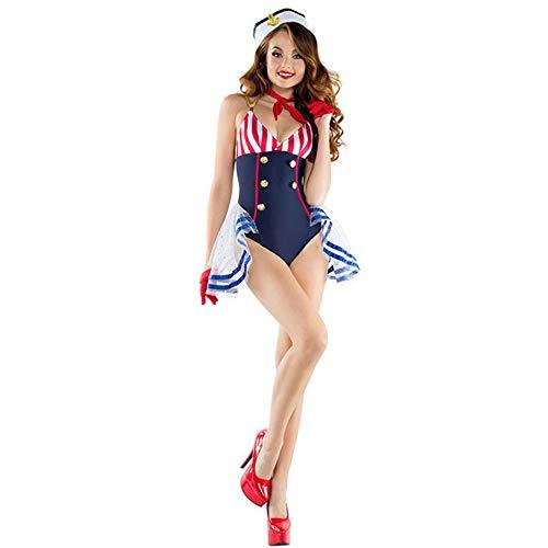YCWY Costume da Marinaio Capitano, Vestito Babydoll Costume da Marinaio Sexy Mini Tuta Donna p