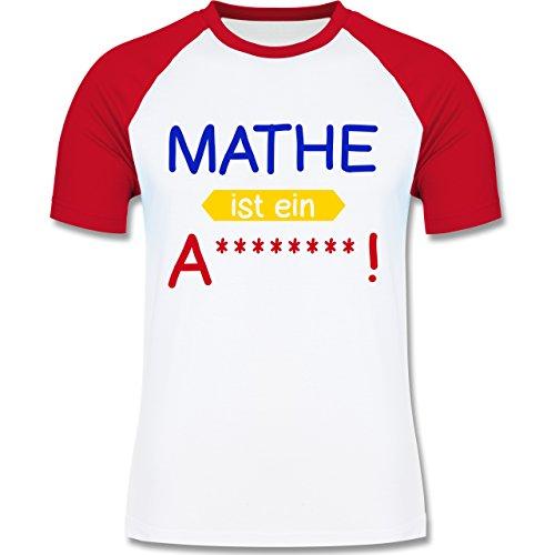 Sprüche - Mathe ist ein A - zweifarbiges Baseballshirt für Männer Weiß/Rot