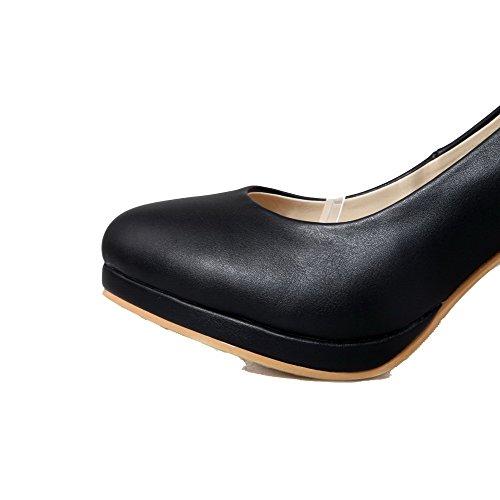 AllhqFashion Femme Matière Souple Rond à Talon Haut Boucle Couleur Unie Chaussures Légeres Noir