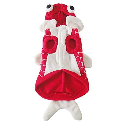 D DOLITY Fisch Form Hundemantel Hundepullover Kapuzenjacke Hunde Hoodie Halloween Cosplay Kostüm - Rot Goldfisch, S