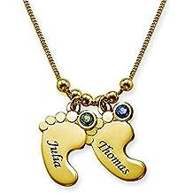 d7e56844e61f Godmoy Collar Personalizado con Colgante de Huella de Plata de Ley de  Birthstone-2 Pie