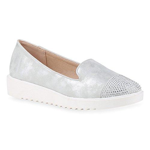 Damen Loafers Quasten Glitzer Slipper Profilsohle Dandy Geek Silber Strass