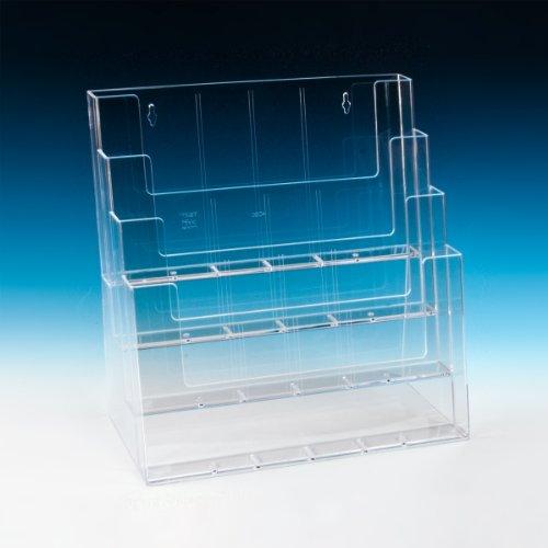 taymar Tisch-Prospektständer XXL, Tribüne, diverse DIN-Formate, 4 Etagen, Transparent (LA-990)
