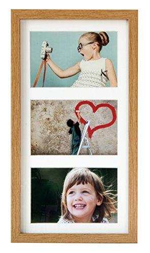 BD ART 18 x 35 cm Mehrfach Bilderrahmen, Bildergalerie, Fotogalerie mit Passepartout und 3 Foto-Ausschnitten für Fotos 10 x 15 cm, Eiche