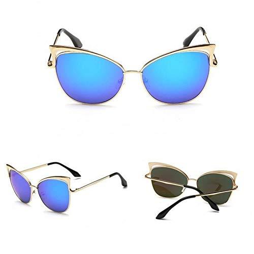 GJYANJING Sonnenbrille KlassischeMetallrahmenDamen Cat Eye Gradient SonnenbrilleVintage Frauen Cateye Spiegel Objektiv Beschichtung Uv400