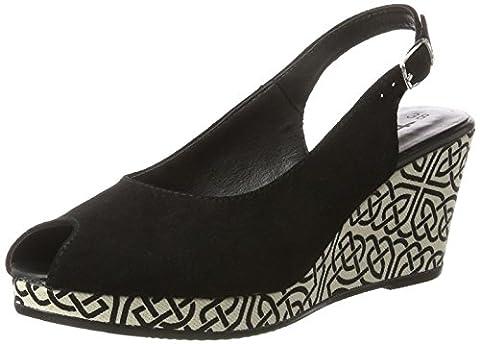 Tamaris Damen 29303 Offene Sandalen mit Keilabsatz, Schwarz (Black 001), 37 EU
