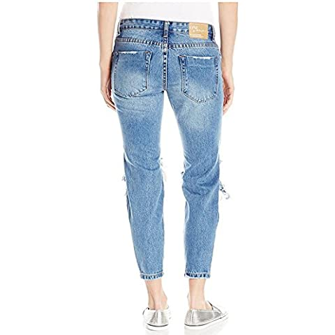 FF&CAI Magrissime donne Distressed distrutto foro lungo Denim Pantaloni , light blue , m