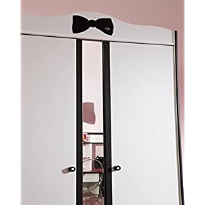 Armoire 2 portes pour chambre Fille Noire et Blanche, L 98 x H 189 x P 58 cm -PEGANE-