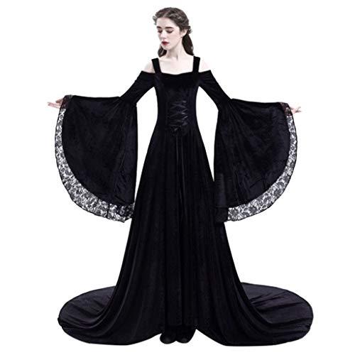 Lazzboy Frauen Retro Mittelalter Party Prinzessin Renaissance Cosplay Spitze Bodenlanges Kleid Vintage Kostüm Langarm Gothic übergröße Lang Maxi Kleidung(Schwarz,2XL)