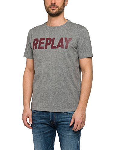 Replay Herren T-Shirt Grau (Medium Melange Grey M14)