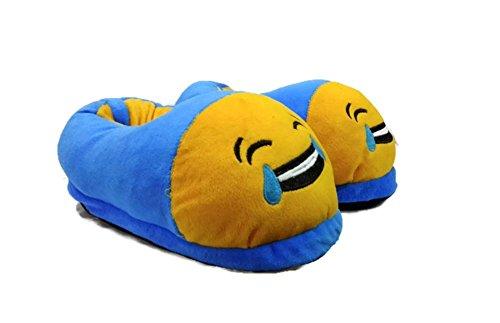 Trend Overseas Blue Emoji Bedroom Slipper Free Size Indoor Slipper Funny Soft Plush For Adults Kids Teens Bedroom Smiley Poop Comfy Socks Womens Girls Non-Skid Footpads