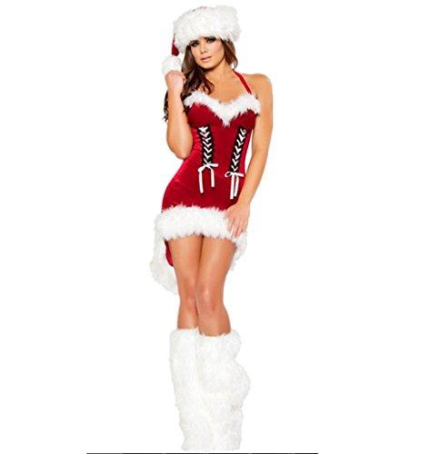 Für Sexy Erwachsene Kostüme Santa (Hikenn Frauen Weihnachten Kostüme Sexy Red Christmas Dress Weihnachtsmann Kostüme für Erwachsene)