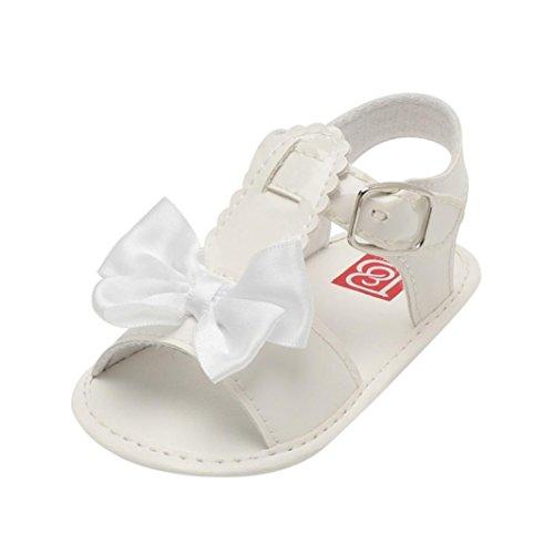 Zapatos de Verano para Bebé  Yesmile Sandalias Huecas de Proa Bowknot Zapatillas de Cuna Suave Suela Antideslizante Zapatos Gancho y Lazo (12, Blanco)