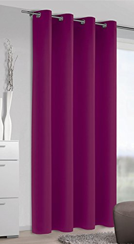 Homemaison Vorhang Occultant, einfarbig, Polyester, Magenta, 245x 140cm