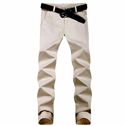 Men's Casual Slim Fit Skinny Cotton Trousers Beige