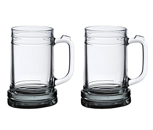 (Lillian Rose G140 Beer Mugs, 16-Ounce, Clear, Set of 2)