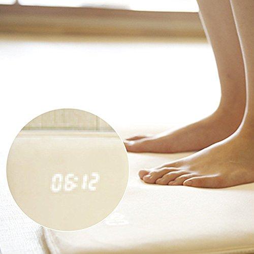 EMVANV Smart Teppich Wecker Pressure Sensitive Digital Teppich mit Datum LED Elektronische Anpassbare Alarm/Post Alarm Musik Drucksensor für Heavy Sleeper - Weiß, 40cm x 38cm (Teppich-wecker)