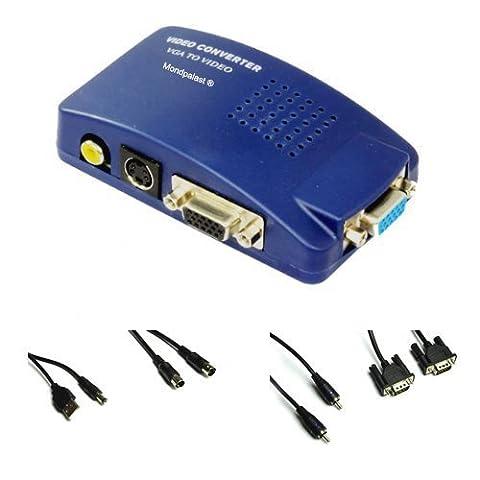 Mondpalast ® PC VGA à TV Composite Video Converter RVB / TV AV RCA S -Video Adapter Converter Box Doté d'une connexion Jack 3,5 mm à 2x câble RCA audio stéréo