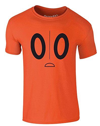 Brand88 - Spooky Friend, Erwachsene Gedrucktes T-Shirt Orange/Schwarz