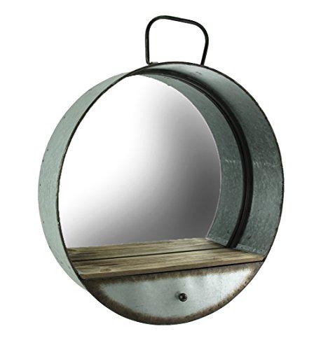 Spezielle T importen 52,1cm Rund verzinktem Metall Wand Spiegel mit Holz Regal Farm Spiegel