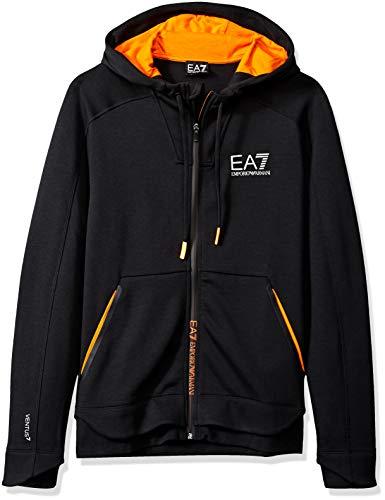EMPORIO ARMANI EA7 VENTUS7 M Hoodie FZ Graphic Sudaderas y Polares Hombres  Negro Naranja - f9600ce8138