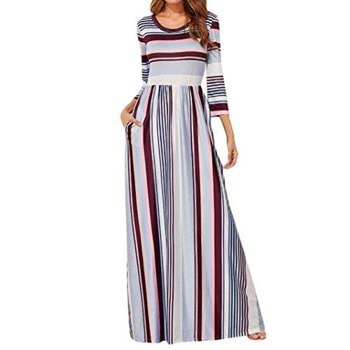 Mujer Vestido Casual Verano 2018,Sonnena Mujer elástico Cintura Rayas Vestido Largo 3/4 Longitud Manga Cuello-O Vestido de Fiesta Playa Verano Fresco